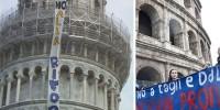 Протестующие студенты заняли Пизанскую башню и Колизей
