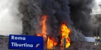В Риме сгорел вокзал Тибуртина