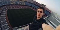 Испания: руфер сделал селфи на самой высокой точке «Камп Ноу»