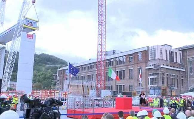 Италия: на новом мосту в Генуе установили первый пролёт
